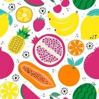 mão desenhada bonito padrão sem emenda frutas, laranja, banana, romã, cereja, morango, abacaxi, melancia, limão e folha em fundo branco. ilustração vetorial. vetor
