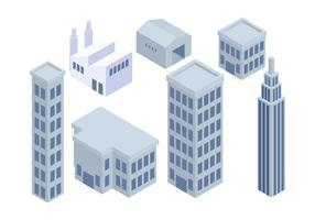 Conjunto de edifícios industriais isométricos Vector