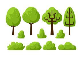 Tree Clipart Set Ilustração Vetorial vetor