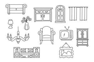 conjunto de móveis de interior doodle. ícone de estilo de desenho de decoração para casa. isolado no fundo branco ilustração vetorial desenhada à mão com tinta simples vetor