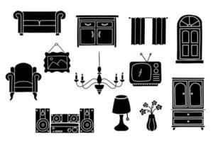 conjunto de móveis de interior doodle. ícone de estilo de esboço de silhueta de decoração para casa. isolado no fundo branco ilustração vetorial desenhada à mão com tinta simples vetor
