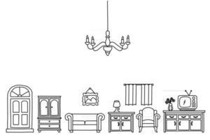 estilo de esboço de decoração para casa doodle. Conjunto de móveis de interior, ilustração vetorial desenhada à mão a tinta vetor