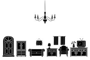 estilo de esboço de silhueta de decoração para casa doodle. Conjunto de móveis de interior, ilustração vetorial desenhada à mão a tinta vetor