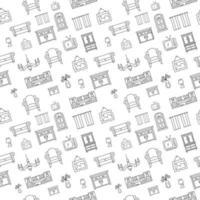 móveis doodle padrão sem emenda. ícone de estilo de esboço de decoração para casa para ilustração vetorial de fundo vetor
