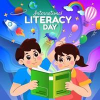 feliz menino e menina inteligentes lendo um livro vetor