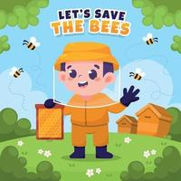 proteger o conceito de abelha de mel vetor