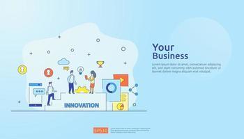 processo de ideia de inovação de brainstorming e conceito de pensamento criativo com lâmpada de lâmpada para iniciar o projeto de negócios. ilustração para página de destino da web, banner, apresentação, mídia social, impressão vetor