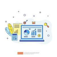 gráfico documento dados relatório conceito para estatísticas de negócios, análise de investimentos, planejamento de pesquisa e contabilidade de auditoria financeira com folha de papel, mãos, lupa, papelada, gráficos, elemento de gráficos vetor