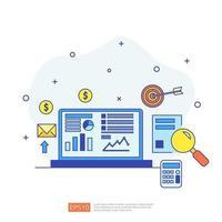 conceito de marketing com relatório de dados do documento. estatísticas de negócios, análise de investimentos, planejamento de pesquisa e auditoria financeira com gráfico de folha de papel, laptop, lupa, papelada, gráficos, elemento de gráficos vetor