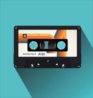 Ilustração em vetor plana vintage retrô cassete fita plana