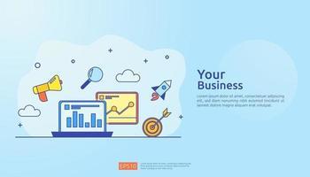 ilustração em vetor conceito estratégia de marketing digital. gráfico de crescimento de negócios e aumento de gráfico para o sucesso. retorno sobre o investimento roi ou aumento do lucro. finanças estendendo-se para estandarte