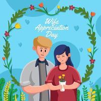 cartão do dia de agradecimento da esposa vetor