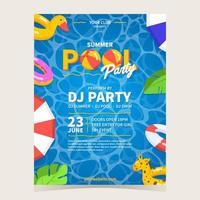 pôster de festa na piscina com clima de verão vetor