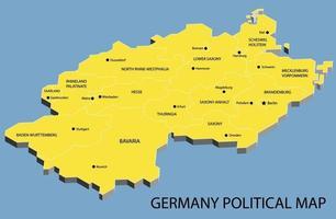 mapa isométrico político da alemanha dividido por estado vetor
