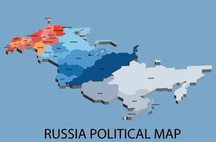 mapa isométrico político da Rússia dividido por estado vetor