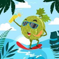 melão gosta de surfar no verão vetor