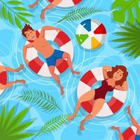 relaxante e refrescante na piscina no verão vetor