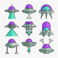 pacote de ícones do espaço ufo vetor