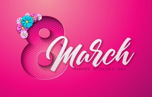 = Cartão floral feliz dia das mulheres vetor