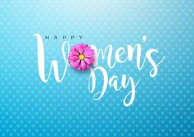 Cartão floral do dia das mulheres felizes vetor