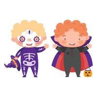 crianças em fantasias de halloween vetor