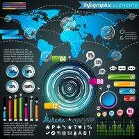 Mapa do mundo e gráficos de informação vetor