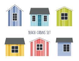 conjunto de cabanas de praia, ilustração plana vetor