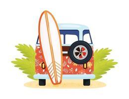 van vermelha com prancha de surf vetor