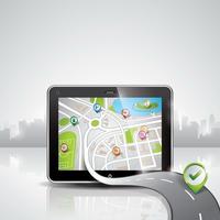 Vector map ilustração com dispositivo pda brilhante e um bom caminho.