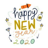 Happi bonito fundo de ano novo vetor
