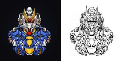ilustração em vetor logotipo do mascote robótico