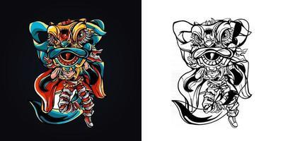 ilustração em vetor logotipo mascote dança de leão