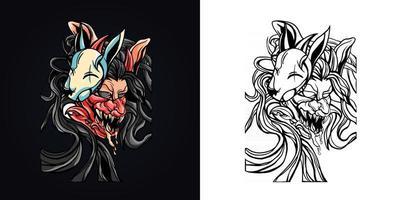 ilustração em vetor logotipo mascote de lobo de máscara de Satanás