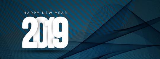 Elegante, feliz ano novo, 2019, bandeira, modelo vetor