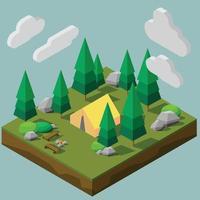 estilo isométrico de baixo polígono de um local de acampamento em uma floresta. vetor