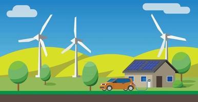 carro elétrico carregando no carregador em casa, painéis solares, turbinas eólicas no fundo. vetor
