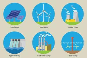conjunto de design plano de ícones de energias renováveis. vetor