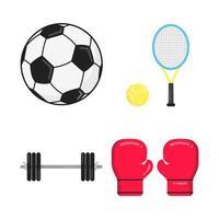 esportes atributos design de estilo plano definir sinais de ícone isolados no fundo branco. bola de futebol, raquete de tênis e bola, barra, luvas de boxe - símbolos de jogos esportivos. vetor