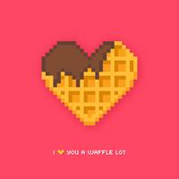 Arte de pixel de waffle em forma de coração vetor