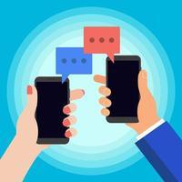 duas mãos conversando com telefones vetor