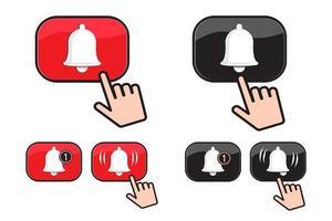 conjunto de botão do ícone de sino e cursor de mão empurrando. ícone de mídia social. ilustração vetorial vetor