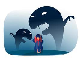 menina deprimida com ansiedade e fantasias assustadoras sentindo tristeza, medos, ilustração vetorial de tristeza vetor