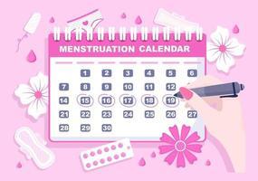 menstruação período calendário mulheres para verificar data ciclo ilustração vetor