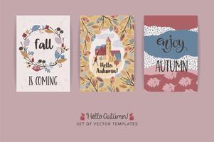 Conjunto de artísticos criativos cartões de outono. Texturas de mão desenhada e letras de escova.