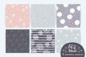 Conjunto de vetores de padrão sem emenda de inverno com neve e flocos de neve.