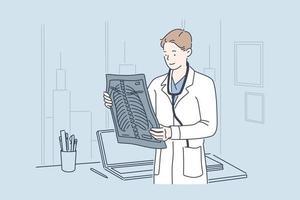 médico segurando conceito de imagem de raio-x vetor