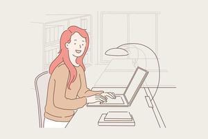 trabalho, educação, conceito freelance. vetor