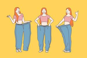 dieta, perda de peso, conceito de emagrecimento. vetor