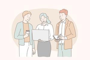 reunião de equipe, trabalho em equipe, conceito de espírito de equipe. vetor