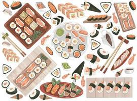 conjunto de frutos do mar doodle vetor